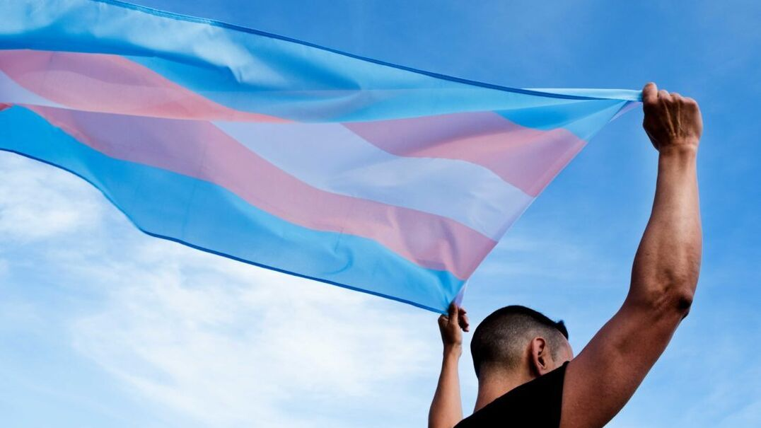 Trans work image person with trans flag